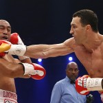 Wladimir Klitschko, right, goes on the attack against Alex Leapai in Oberhausen.