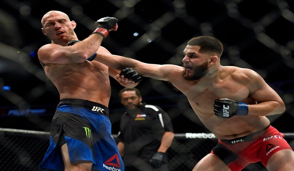 Jorge Masvidal lands a punch on Donald Cerrone  in their Welterweight bout during UFC Fight Night January 28, 2017 at Pepsi Center. Masvidal defeated Cerrone one minute into the second round on a TKO.