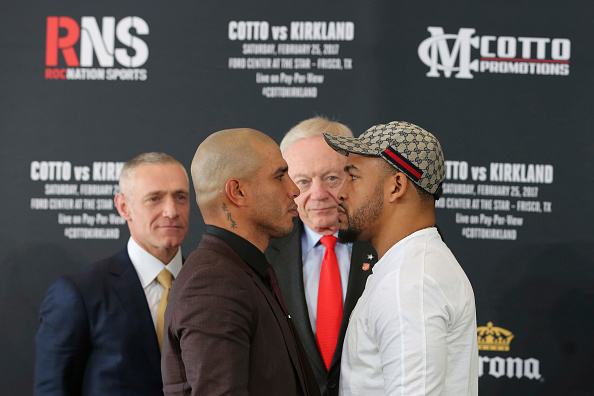 FRISCO, TX - DECEMBER 19: Miguel Cotto, Jerry Jones and James Kirkland pose during a press conference to promote the fight between Miguel Cotto and James Kirkland at the Ford Center in Frisco, TX on December 19, 2016 in Frisco, Texas, United States. (Photo by Omar Vega/LatinContent/Getty Images)