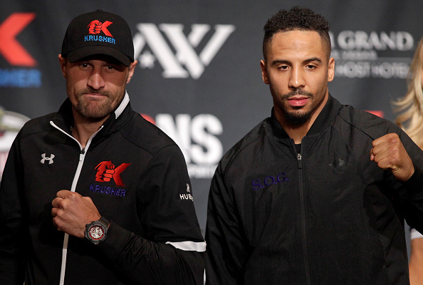 Boxers Sergey Kovalev of Russia (L) and Andre Ward of the US pose during their final news conference at the MGM Grand in Las Vegas, November 17, 2016.   Kovalev will meet Ward for the WBA, IBF and WBO light heavyweight world championship on November 19, 2016 at the T-Mobile Arena in Las Vegas. / AFP / John GURZINSKI        (Photo credit should read JOHN GURZINSKI/AFP/Getty Images)