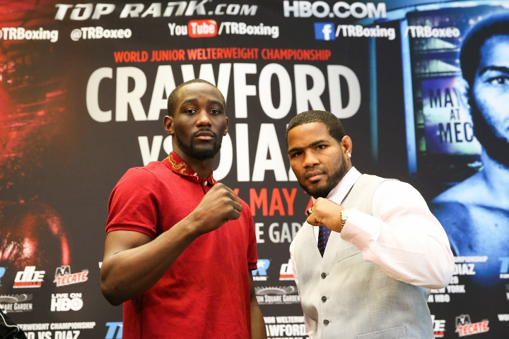 April 4, 2017; New York, NY, USA; World Jr. Welterweight Champion Terence Crawford  speaks to members of the media before the press conference announcing the May 20, 2017 fight card at Madison Square Garden.  The main event will feature the World Jr. Welt
