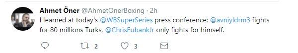 """Ahmet Öner basın toplantısı için şu mesajı paylaştı: """"Bugün WBSS toplantısında gördüm ki Avni Yıldırım 80 milyon Türk için, Chris Eubank Jr ise yalnızca kendisi için dövüşüyor."""